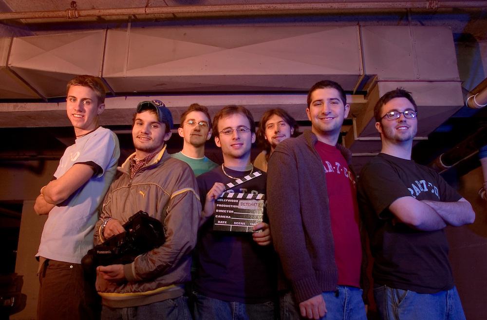 16882 ?Detonate? Movie John Swartz staff group photo under Jefferson Parking Garage: students