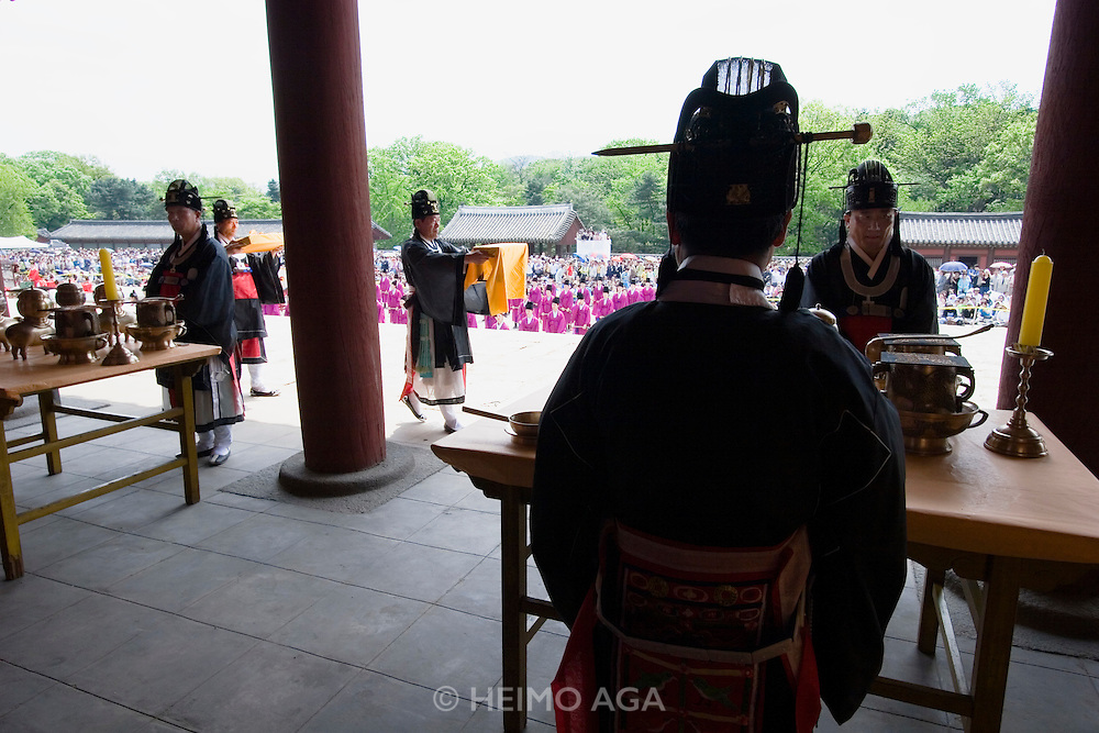 Jongmyo Jerye, a ritual service for Royal ancestors, performed on the first Sunday of May each year. Jongmyo (designated as a World Cultural Heritage by UNESCO in 1995) is a Confucian shrine where the ancestral tablets of kings and queens of the Joseon Dynasty are enshrined.