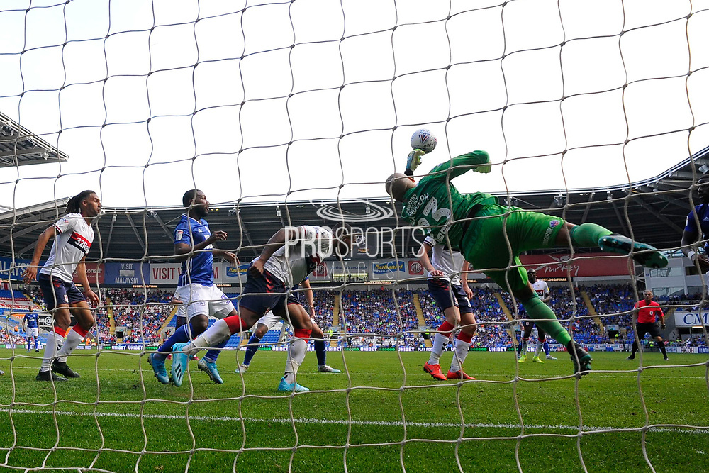 Darren Randolph (23) of Middlesbrough makes a save during the EFL Sky Bet Championship match between Cardiff City and Middlesbrough at the Cardiff City Stadium, Cardiff, Wales on 21 September 2019.
