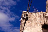 Un colombo che spicca il volo dai cavi di alta tensione. Sullo sfondo uno scorcio di una casa nella città vecchia di Ostuni.