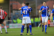 GOAL Nathaniel Mendez-Laing celebrates scoring 3-3  during the EFL Sky Bet League 1 match between Rochdale and Sheffield Utd at Spotland, Rochdale, England on 4 March 2017. Photo by Daniel Youngs.