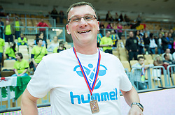 Zoran Jovicic, head coach of Koper celebrates after winning during handball match between RK Koper 2013 and RK Dol TKI Hrastnik for 3rd place of Slovenian Handball Cup 2015, on March 29, 2015 in Arena Bonifika, Koper, Slovenia. Photo by Vid Ponikvar / Sportida
