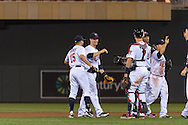 Glen Perkins #15, Justin Morneau #33, and Joe Mauer #7 of the Minnesota Twins celebrate after the Twins defeated the Philadelphia Phillies on June 11, 2013 at Target Field in Minneapolis, Minnesota.  The Twins defeated the Phillies 3 to 2.  Photo: Ben Krause