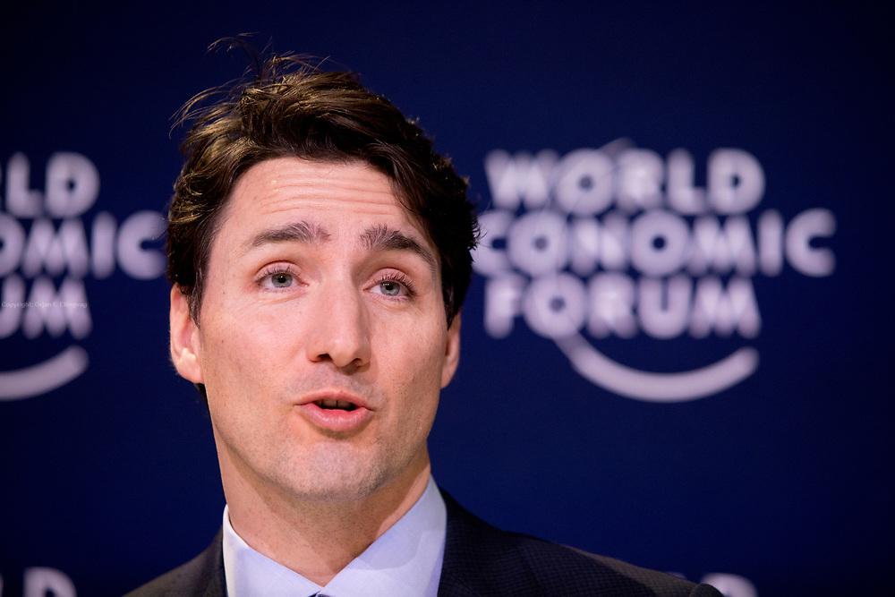 Davos, Graubünden, Sveits, 20170125: Canadas statsminister Justin Trudeau holder pressekonferanse. World Economic Forum - WEF. Foto: Ørjan F. Ellingvåg