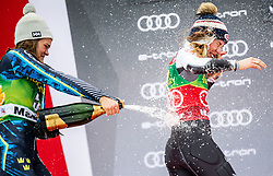 Second placed SWENN LARSSON Anna of Sweden and Winner SHIFFRIN Mikaela of USA celebrate during Trophy ceremony after the 7th Ladies'  Slalom at 55th Golden Fox - Maribor of Audi FIS Ski World Cup 2018/19, on February 2, 2019 in Pohorje, Maribor, Slovenia. Photo by Matic Ritonja / Sportida
