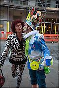 PATRICIA QUINN; ARKEM WALTON, Andrew Logan's Alternative Miss World 2014. Shakespeare's Globe, London. 18 October 2014.