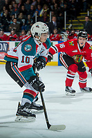 KELOWNA, CANADA - APRIL 8: Nick Merkley #10 of the Kelowna Rockets lines up a shot on net against the Portland Winterhawks on April 8, 2017 at Prospera Place in Kelowna, British Columbia, Canada.  (Photo by Marissa Baecker/Shoot the Breeze)  *** Local Caption ***