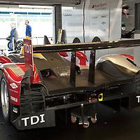 #7 Audi R15 TDI in pit garage - Audi Sport Team Joest (Drivers - Allan McNish and Tom Kristensen) LMP1, Le Mans Series Silverstone 1000KM 2010