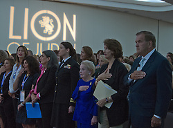 September 11, 2016 - Washington, District of Columbia, United States of America - (From right to left) Former United States Secretary of Homeland Security Tom Ridge, NPR National Political Correspondent Mara Liasson, former US Secretary of State Madeleine Albright, and Lt. Cmdr. Alexa Jenkins, Commanding Officer, USS Tornado (PC-14) listen as the National Anthem is performed at the just before addressing 1300 women philanthropists at the Jewish Federations' 2016 International Lion of Judah Conference on ''Fifteen Years After 9/11'' at the Washington Hilton Hotel on Sunday, September 11, 2016. .Credit: Ron Sachs / CNP (Credit Image: © Ron Sachs/CNP via ZUMA Wire)