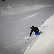 Owen Dudley pulls a grab over the boundary line at Mount Baker Ski Area.