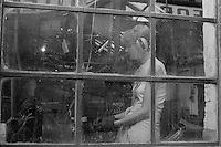 Female cutlery worker, Sydney Street Sheffield 1983.