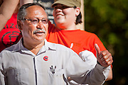 Apr. 19, 2009 -- PHOENIX, AZ: ARTURO S. RODRIGUEZ, president of the United Farm Workers of America, speaks during a UFW rally in central Phoenix. About 2,000 people marched from the Arizona State Capitol to Cesar Chavez Plaza in downtown Phoenix. The march was organized by the United Farm Workers of America to promote immigration reform.  Photo by Jack Kurtz