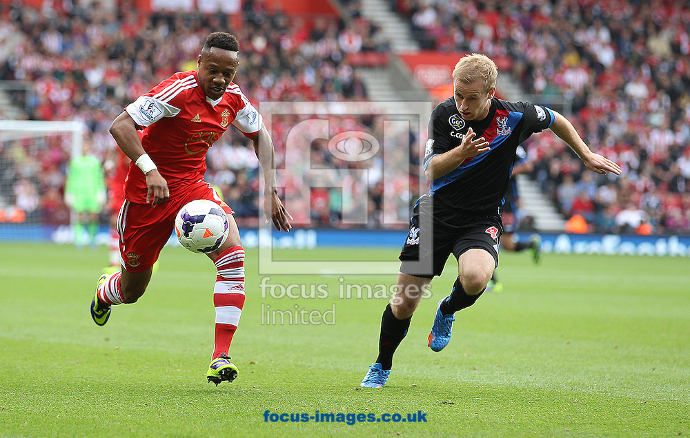 Picture by Paul Terry/Focus Images Ltd +44 7545 642257<br /> 28/09/2013<br /> Nathaniel Clyne of Southampton and Barry Bannan of Crystal Palace during the Barclays Premier League match at the St Mary's Stadium, Southampton.