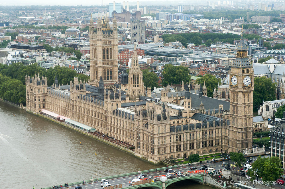 Westminster, Houses of Parliament from London Eye.