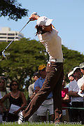 Fifteen year old Michelle Wie tees off during a practice round prior to The 2005 Sony Open In Hawaii. The event was held at the Waialae Country Club in Honolulu, Hawaii.