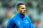 Gylfi Sigurdsson (#10) of Everton warms up ahead of the Premier League match between Newcastle United and Everton at St. James's Park, Newcastle, England on 9 March 2019.