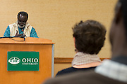"Sierra Leone poet and novelist, Syl Cheney-Coker presents ""African Art, Literature and Power: Whose Narratives Matter?"" on April 7th, 2014 in the Baker University Center to help kick off the 50th Anniversary the African Studies Program. Cheney-Coker's latest novel is titled ""Sacred River"". Photo by Olivia Wallace"