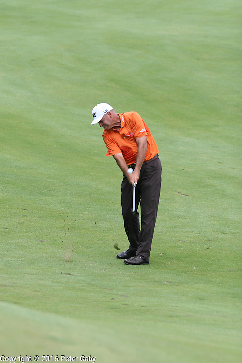 Rocco Mediate hitting his second shot on the 18th fairway at the 2016 American Family Championship held at University Ridge Golf Course, Madison,  WI. on June 24, 2016.<br /> <br /> <br /> <br /> <br /> <br />  2016 American Family Championship held at University Ridge Golf Course, Madison,  WI. on June 23, 2016.