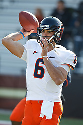 November 20, 2010; Chestnut Hill, MA, USA;  Virginia Cavaliers quarterback Marc Verica (6) warms up before the game against the Boston College Eagles at Alumni Stadium.