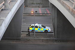 © Licensed to London News Pictures. 06/09/2013<br /> Dartford Bridge and Tolls closed in both direct due to a security alert. One man arrested and a suspicious item found on M25. M25 CLOSED IN BOTH DIRECTIONS.  Police holding traffic on the bridge towards Kent.<br /> Photo credit :Grant Falvey/LNP