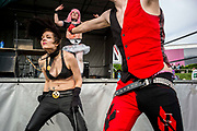 UNITED KINGDOM, London: 27-28 May 2017 Cosplay fans dance to heavy metal music at the MCM London Comic Con. <br /> The comic convention, which will be visited by tens of thousands of comic book and cosplay fans, is being held at London's ExCel this weekend. Rick Findler / Story Picture Agency