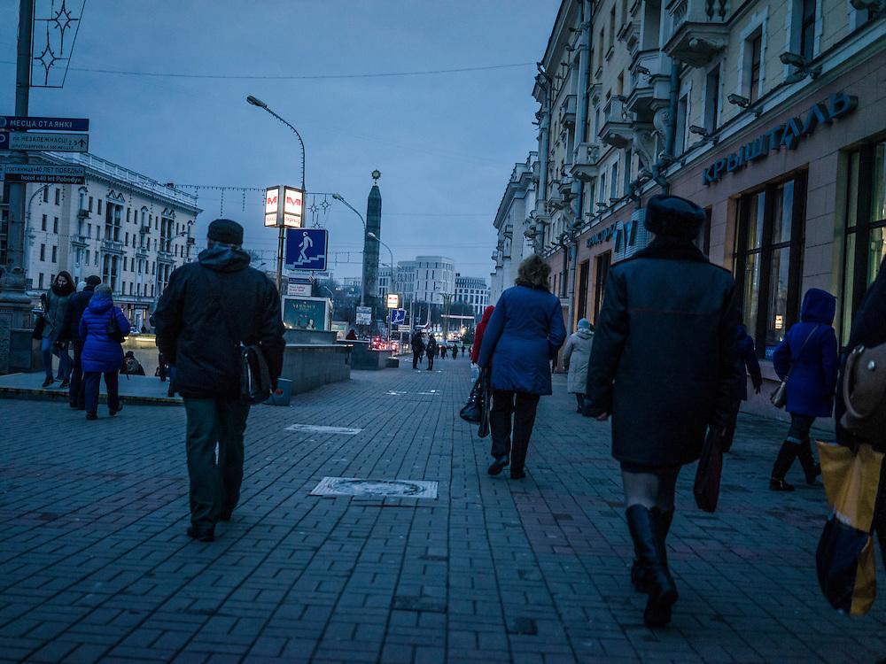 Pedestrians at rush hour on Monday, November 23, 2015 in Minsk, Belarus.