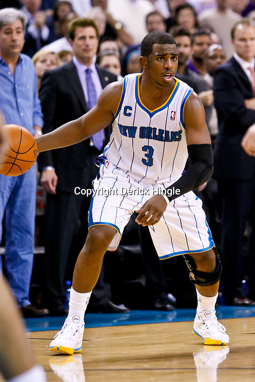 November 17, 2010; New Orleans, LA, USA; New Orleans Hornets point guard Chris Paul (3) during a game against the Dallas Mavericks at the New Orleans Arena. The Hornets defeated the Mavericks 99-97. Mandatory Credit: Derick E. Hingle