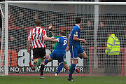 Billy Bricknell scores and celebrates his goal during the FA Trophy match between Cheltenham Town and Chelmsford City at Whaddon Road, Cheltenham, England on 12 December 2015. Photo by Antony Thompson.