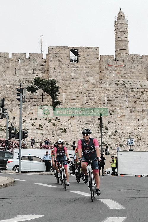 May 4, 2018 - Jerusalem, Israel - Riders warm up for he 101st edition of Giro d'Italia, the Corsa Rosa, beginning today in Jerusalem, outside the Old City and below the Tower of David, history being made with the first ever Grand Tour start outside of Europe. Competing riders will set out for the 9.7Km Jerusalem Individual Time Trial Stage 1. (Credit Image: © Nir Alon via ZUMA Wire)