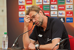 LIVERPOOL, ENGLAND - Friday, May 13, 2016: Liverpool's manager Jürgen Klopp during a press conference at Melwood Training Ground ahead of the UEFA Europa League Final against Seville FC. (Pic by David Rawcliffe/Propaganda)