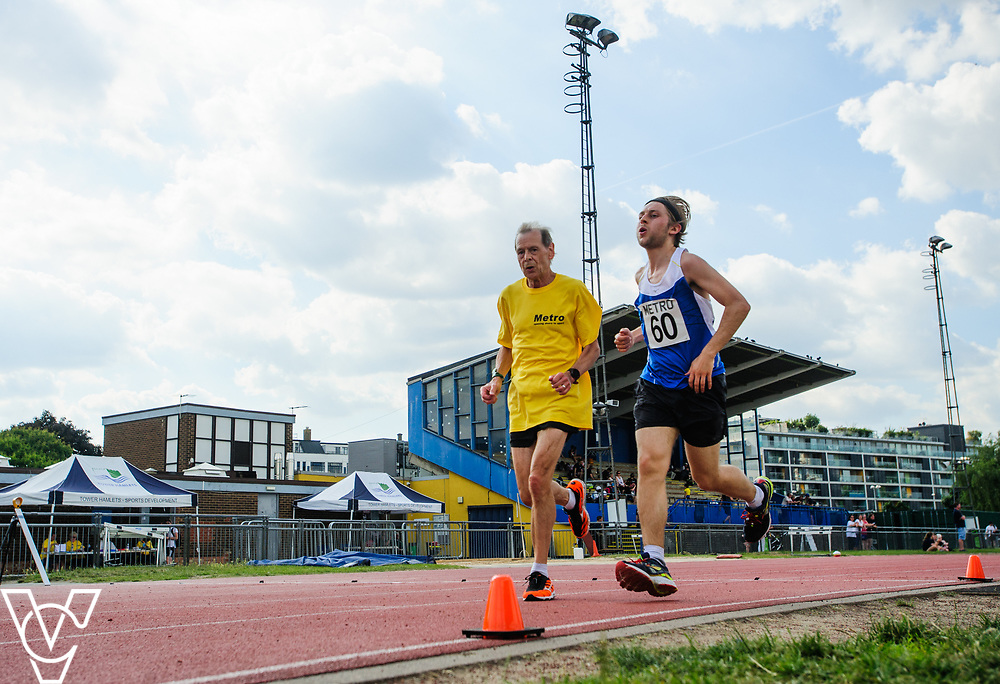 Metro Blind Sport's 2017 Athletics Open held at Mile End Stadium.  5000m.  Tom Skelton with guide runner<br /> <br /> Picture: Chris Vaughan Photography for Metro Blind Sport<br /> Date: June 17, 2017