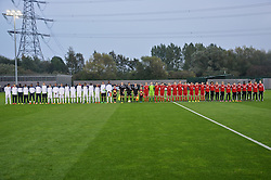 NEWPORT, WALES - Tuesday, September 23, 2014: Wales and France line-up before the Under-16's International Friendly match at Dragon Park. (Pic by Cledwyn Ashford/Propaganda)
