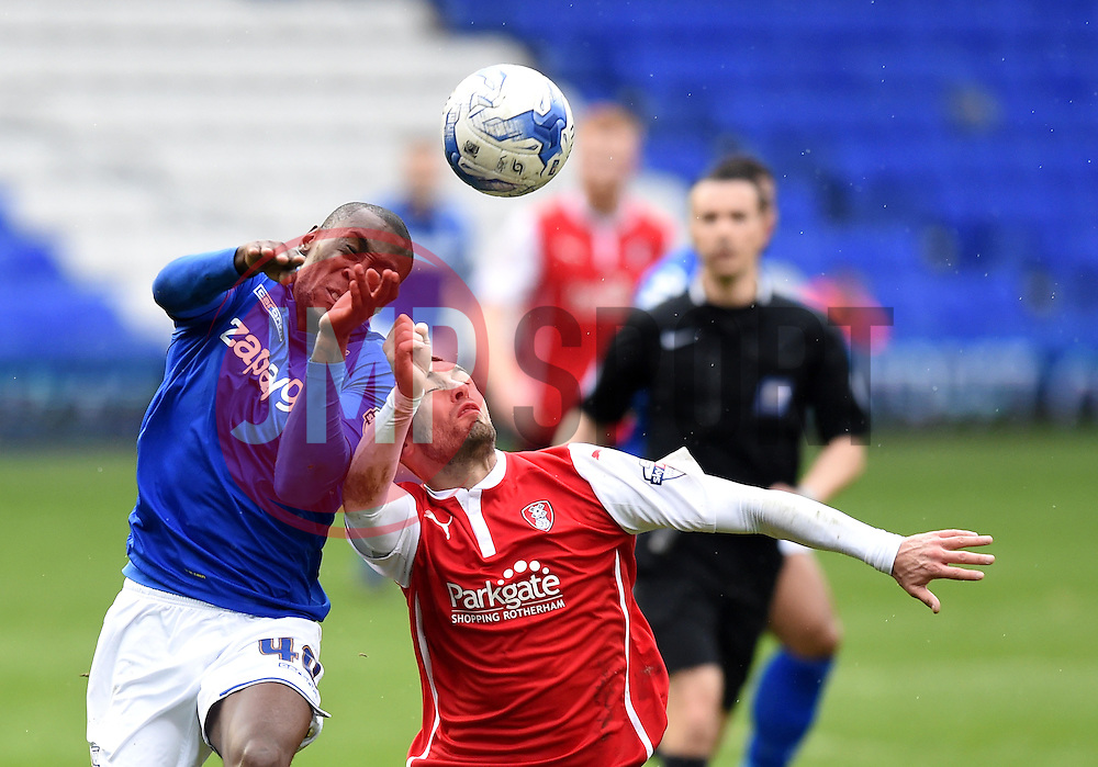 Birmingham City's Lloyd Dyer and Rotherham United's Jack Hunt compete for the ball - Photo mandatory by-line: Paul Knight/JMP - Mobile: 07966 386802 - 03/04/2015 - SPORT - Football - Birmingham - St Andrew's Stadium - Birmingham City v Rotherham United - Sky Bet Championship