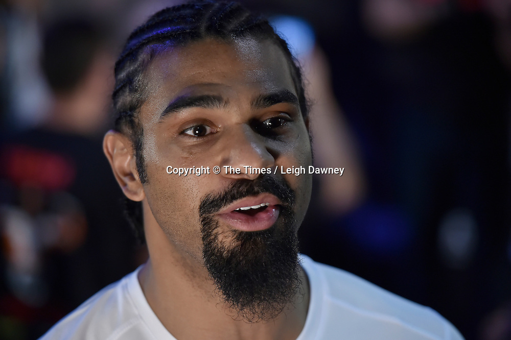 David Haye speaks to the media at the official weigh in ahead of his fight against Mark de Mori. The O2, London. 15th January 2016. Credit: Times Photographer Leigh Dawney