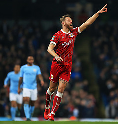 Nathan Baker of Bristol City points - Mandatory by-line: Matt McNulty/JMP - 09/01/2018 - FOOTBALL - Etihad Stadium - Manchester, England - Manchester City v Bristol City - Carabao Cup Semi-Final First Leg