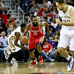 Jan 25, 2016; New Orleans, LA, USA; Houston Rockets guard James Harden (13) drives down court against the New Orleans Pelicans during the first quarter of a game at the Smoothie King Center. Mandatory Credit: Derick E. Hingle-USA TODAY Sports