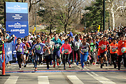 Hundreds of kids ages 7-18 participate in the first NYRR Youth Running Series at the Scotland Run in New York's Central Park to celebrate Scotland Week festivities, Saturday, April 4, 2015.  (Photo by Diane Bondareff/Invision for Scottish Governmentt/AP Images)