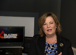 Culture Secretary Fiona Hyslop visits the studios of Blazing Griffin, a film & tv production and post production company, who have just received £200,000 GBP funding to enhance their facilities in Glasgow. <br /> <br /> © Dave Johnston/ EEm