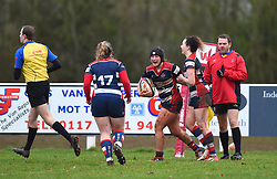Clara Nielson of Bristol Ladies celebrates - Mandatory by-line: Paul Knight/JMP - 03/02/2018 - RUGBY - Cleve RFC - Bristol, England - Bristol Ladies v Harlequins Ladies - Tyrrells Premier 15s