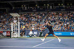 August 17, 2018 - Mason, OH, U.S. - CINCINNATI, OH - AUGUST 17:   Roger Federer of Sweden volleys the ball to Stan Wawrinka of Switzerland during Day 6 of the Western and Southern Open at the Lindner Family Tennis Center on August 17, 2018 in Mason, Ohio. (Photo by Shelley Lipton/Icon Sportswire) (Credit Image: © Shelley Lipton/Icon SMI via ZUMA Press)