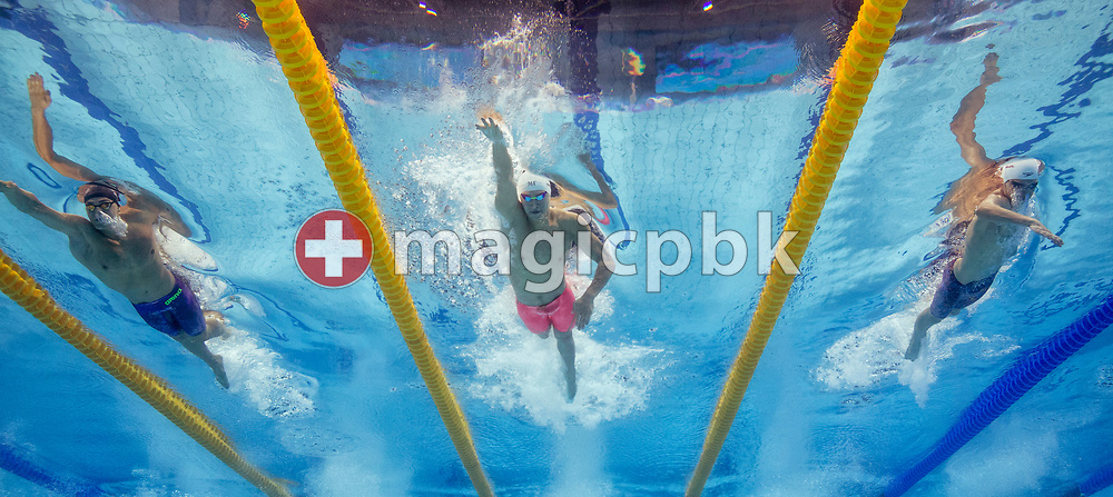 Yang SUN (C) of China competes in the men's 400m Freestyle Heats during the swimming events of the 17th Fina World Championships held at the Duna Arena in Budapest, Hungary, Sunday, July 23, 2017. (Photo by Patrick B. Kraemer / MAGICPBK)