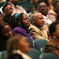 Adam Robison | BUY AT PHOTOS.DJOURNAL.COM<br /> Those in attendance listen as Attorney Melvyn Leventhal, New York, New York, speaks at the Dr. Martin Luther King Jr. Commemorative Service at the Tupelo Auditorium Sunday afternoon in Tupelo.