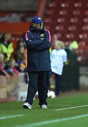 FC Barcelona's manager, Xavier Llorea Rodriguez paces the touchline - Photo mandatory by-line: Paul Knight/JMP - Mobile: 07966 386802 - 13/11/2014 - SPORT - Football - Bristol - Ashton Gate Stadium - Bristol Academy v FC Barcelona - UEFA Women's Champions League