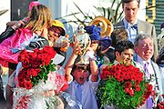 May 5, 2012 - Connections of I'll Have Another celebrate after winning the Kentucky Derby in Louisville Kentucky. © Jamey Price / Getty Images. IMAGE NOT AVAILABLE FOR SALE.