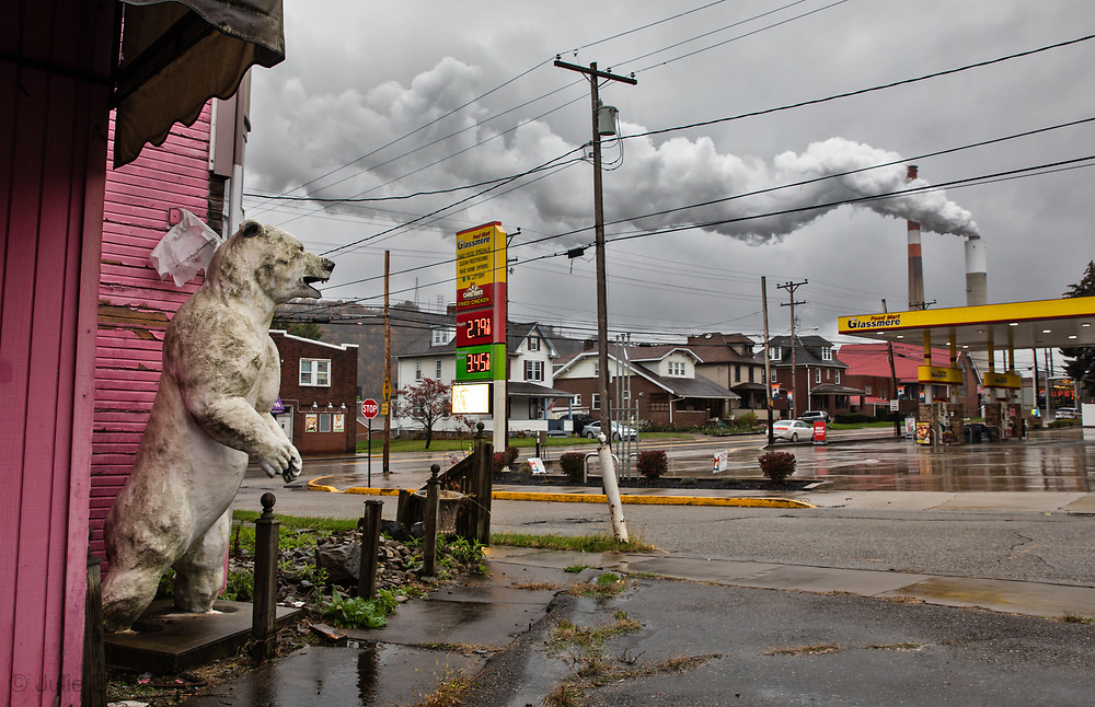Polar bear outside of a closed restaurant near the Cheswick coal power plant in Pennsylvania's Allegheny County.