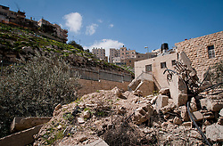 © London News Pictures. 14/03/2011. Recently demolished Palestinian homes in the Silwan area of occupied east-Jerusalem, Israel. A predominantly palestinian area with Israeli settlements. New Israeli settlements were recently announced despite their illegality under international law. 13/03/11
