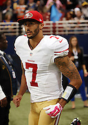 San Francisco 49ers quarterback Colin Kaepernick (7) runs onto the field for the second half of the NFL week 6 regular season football game against the St. Louis Rams on Monday, Oct. 13, 2014 in St. Louis. The 49ers won the game 31-17. ©Paul Anthony Spinelli