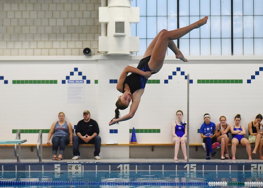 Norwood H.S.'s Kristen Augenstene competes in the dive event during the swim meet against Braintree H.S., Friday, Oct. 16, 2015.<br /> Wicked Local staff photo / Kate Flock