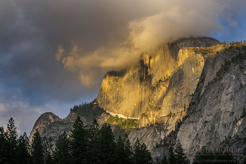 Clouds on Half Dome at sunset from Yosemite Valley, Yosemite National Park, California