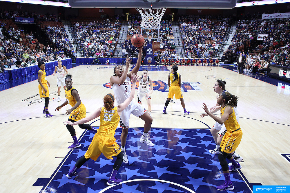 Morgan Tuck, UConn, drives to the basket past  Marina Laramie, East Carolina, during the UConn Huskies Vs East Carolina Pirates Quarter Final match at the  2016 American Athletic Conference Championships. Mohegan Sun Arena, Uncasville, Connecticut, USA. 5th March 2016. Photo Tim Clayton